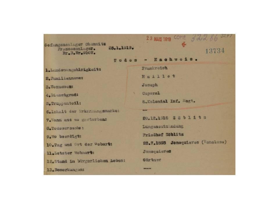 Avis de décès le 20/12/1918 du Caporal Joseph MAILLET